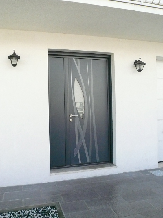 porte d'entrée en aluminium de marque K-LINE modèle AMANDE pose Talence Mérignac